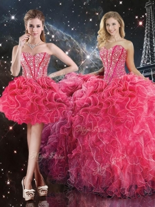 Luxurious Sweetheart Detachable Quinceanera Dresses with Beading for Fall