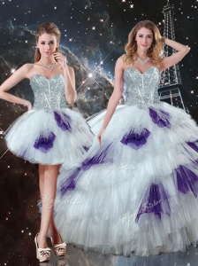 Luxurious Sweetheart Detachable Sweet 16 Dresses with Ruffled Layers for 2016