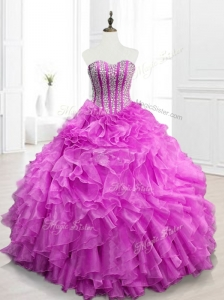 Modern Beading and Ruffles Fuchsia Quinceanera Gowns for 2016