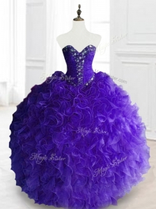 New Style Purple Sweet 16 Dresses with Beading and Ruffles