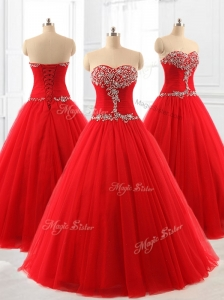Perfect A Line Beading Tulle Quinceanera Dresses for 2016