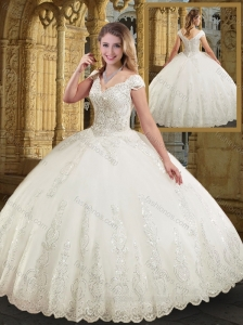 Perfect V Neck Cap Sleeves White Wedding Dresses with Appliques