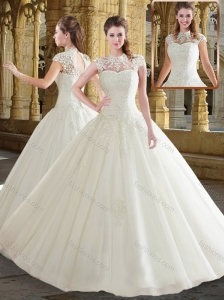 Pretty High Neck White Wedding Dresses with Beading and Appliques