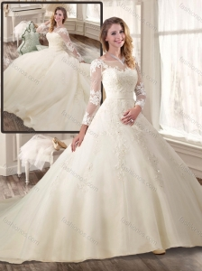 2016 Best Ball Gown Long Sleeves Wedding Dresses with Appliques