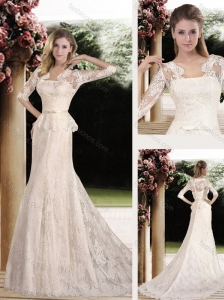 2016 New Arrivals Lace and Belt Wedding Dresses with Half Sleeves
