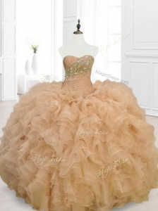 Beautiful Champagne Quinceanera Gowns with Beading and Ruffles