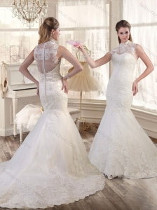 Best Selling High Neck Mermaid Wedding Dresses with Brush Train