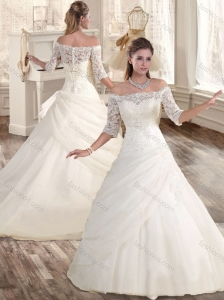 Cheap A Line Off the Shoulder Wedding Dresses with Lace
