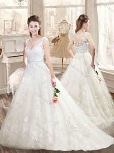 Classical Brush Train Wedding Dresses with Appliques and Belt