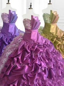 Fashionable Strapless Pick Ups Quinceanera Dresses with Sequins and Ruffles