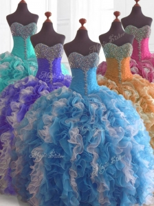 Low Price Beading and Ruffles Quinceanera Dresses in Multi Color