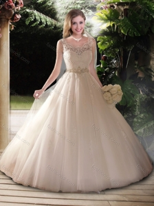 Popular Ball Gown Straps Wedding Dresses with Beading and Lace