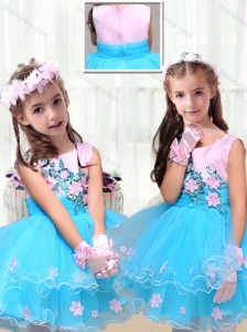 2016 Cute Scoop Short Little Girl Dress with Appliques