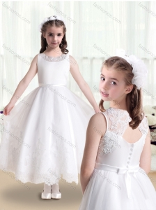 2016 Lovely Empire Scoop Flower Girl Dresses in White with Appliques