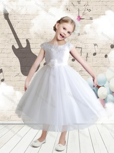 Affordable Cap Sleeves Bateau Flower Girl Dresses with Appliques