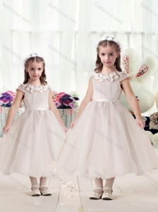 Classical Cap Sleeves Flower Girl Dresses with Appliques and Belt