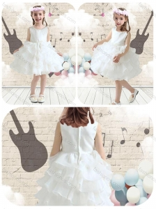 Cute Scoop White Flower Girl Dresses with Ruffled Layers
