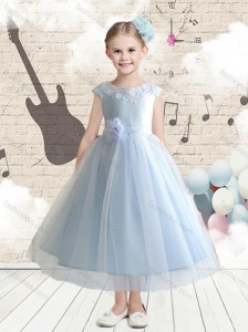 Discount Bateau Cap Sleeves Flower Girl Dresses with Appliques