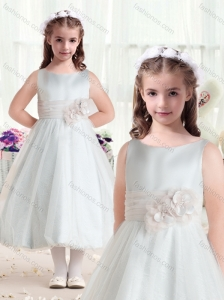Fashionable Bateau Flower Girl Dresses with Hand Made Flowers