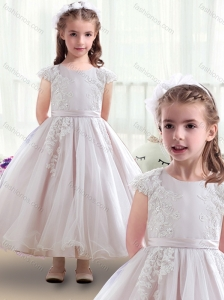 Fashionable Scoop Cap Sleeves Flower Girl Dresses with Appliques