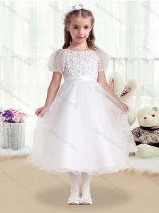 Fashionable Scoop White Flower Girl Dresses with Appliques