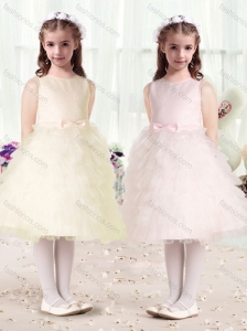 Luxurious Scoop Flower Girl Dresses with Ruffles and Bowknot