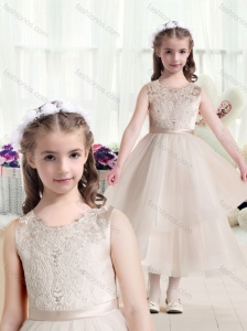 Most Popular Scoop Champagne Flower Girl Dresses with Appliques
