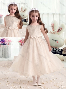 New Style Bateau Champagne Flower Girl Dresses with Appliques
