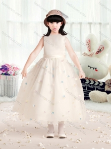 Perfect Bateau Champagne Flower Girl Dresses with Appliques and Belt