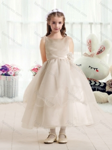 Simple Ball Gown Flower Girl Dresses with Hand Made Flowers