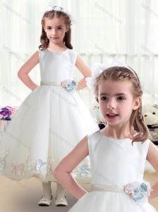 Top Selling Scoop White Flower Girl Dresses with Appliques