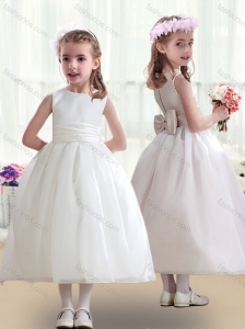 Top Selling White Flower Girl Dresses with Bowknot