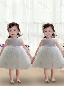 2016 Cute Scoop Ball Gown White Toddler Dress with Ruffles