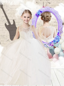 2016 Fashionable Scoop Ball Gown White New Style Little Girl Pageant Dresses with Lace