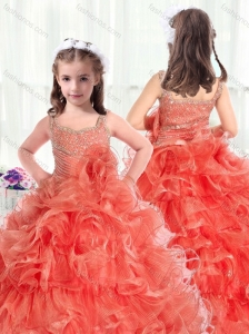 2016 Fashionable Straps Mini Quinceanera Dresses with Beading and Ruffles