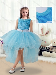 2016 Latest High Low New Style Little Girl Pageant Dresses with Belt and Appliques