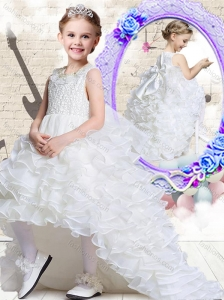 2016 Lovely Scoop High Low White New Style Little Girl Pageant Dresses with Ruffled Layers