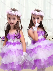 2016 Perfect Short New Style Little Girl Pageant Dresses  with Appliques and Ruffled Layers