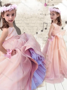 2016 Pretty Ball Gown Peach New Style Little Girl Pageant Dresses with Bowknot