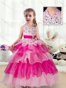 2016 Pretty Halter Top New Style Little Girl Pageant Dresses with Ruffled Layers