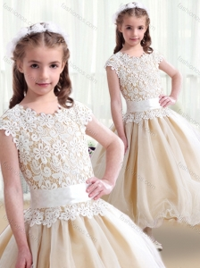 2016 Simple Scoop Ball Gown New Style Little Girl Pageant Dresses with Belt