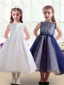 2016 Sweet Scoop Ruching Tea Length New Style Little Girl Pageant Dresses