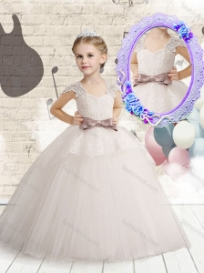 2016 Wonderful Cap Sleeves New Style Little Girl Pageant Dresses  with Bowknot and Lace