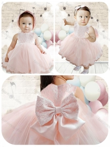 Cute Scoop Baby Pink Toddler Dress with Lace