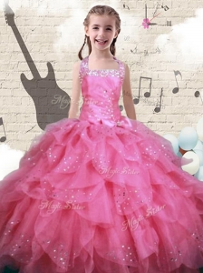 New Style Beading and Ruffles Mini Quinceanera Dresses in Watermelon
