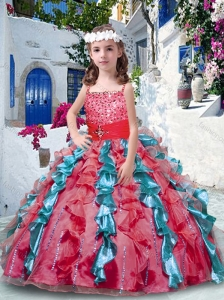 2016 Pretty Ball Gown Spaghetti Straps Little Girl Pageant Dresses with Beading and Ruffles