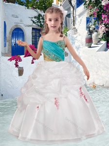 Beautiful Spaghetti Straps Flower Girl Dresses with Appliques and Bubles