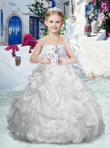 Beautiful Spaghetti Straps Flower Girl Dresses with Beading and Bubles