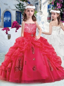Beautiful Spaghetti Straps Little Girl Pageant Dresses with Appliques and Bubles