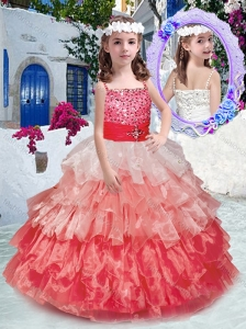 Beautiful Spaghetti Straps Little Girl Pageant Dresses with Beading and Ruffled Layers